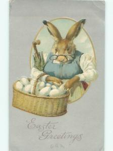 Pre-Linen Easter HUMANIZED BUNNY RABBIT IN CLOTHES WITH GLASSES AB3334