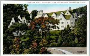 University of California Berkeley Postcard BOWLES HALL c1920s Unused