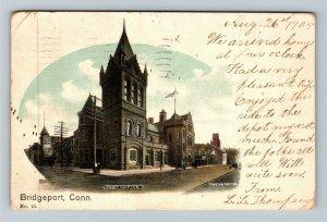 Bridgeport CT-Connecticut, Post Office Building, Tower, Vintage c1905 Postcard