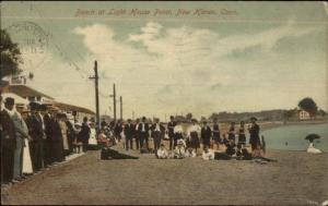 New Haven CT Beach at Lighthouse Point c1910 Postcard