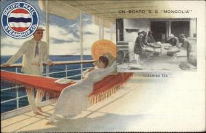Pacific Mail Steamship Co On Board SS Mongolia Cleaning Tea c1910 Postcard