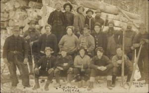 Logging Crew w/ Tools - Ice Cutting Crew Written on Back 1911 RPPC dcn