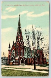 Lansing Michigan~Plymouth Congregational Church~Tall Steeple~Bare Trees~1909