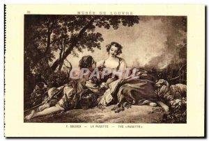 Old Postcard Boucher La Musette Louvre Museum Paris