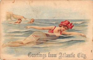 Atlantic City New Jersey Greetings Bathing Beauty Woman Swimming PC J75098