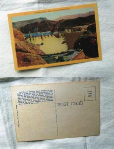Hoover (Boulder) Dam, Nevada, Lookout Point, Black Canyon, Lake Mead Postcard