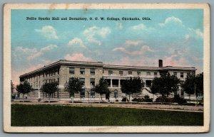 Postcard Chickasha OK c1920s Nellie Sparks Hall and Dormitory O.C.W. College