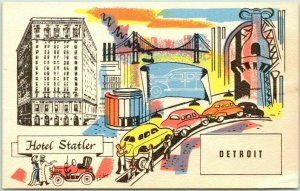 Detroit, Michigan Postcard HOTEL STATLER Multi-View c1950s Unused