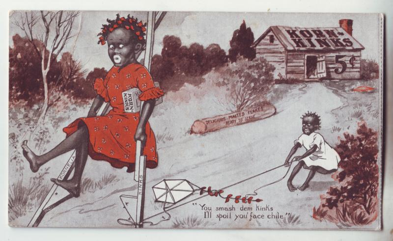 P1043 old card black america comic, corn kinks 5 cents, crease 2nd scan
