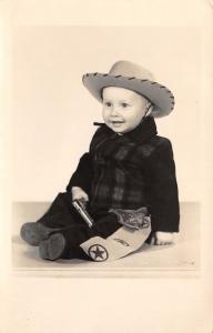 4-Year-Old Boy is Buckaroo w/Cowboy Hat~Gun out of Holster~Star Belt RPPC c1950