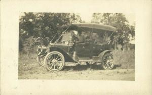 Family in Beautiful Old Car of Unknown Brand (1910s) RPPC Postcard