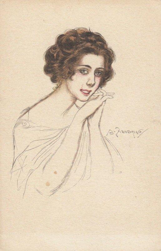 Woman portrait , 1900-10s ; #42A ; Artist Signed A Zardrino