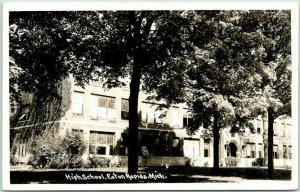 EATON RAPIDS, Michigan RPPC Real Photo Postcard HIGH SCHOOL Building View c1940s