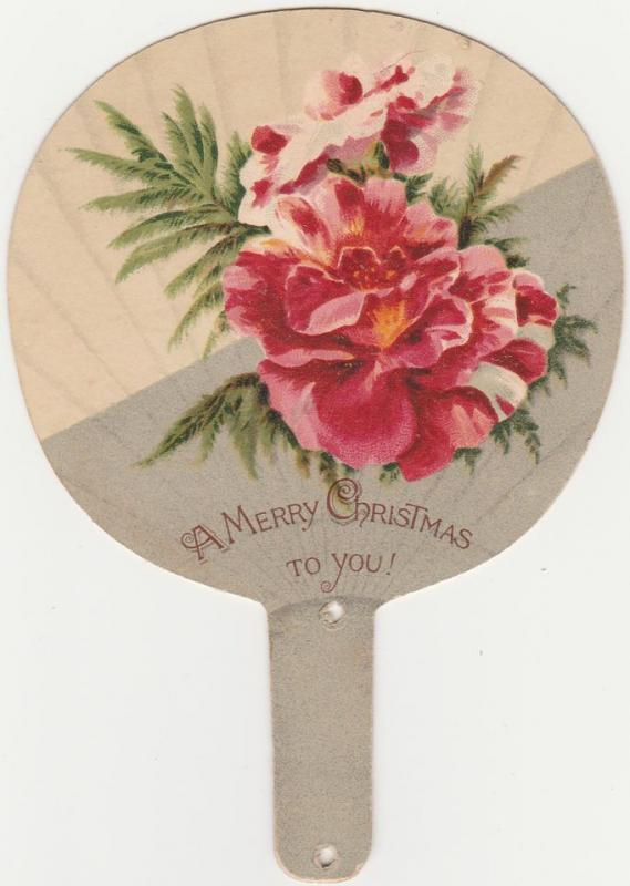 Victorian Die Cut Trade Card - Fan Shape - Merry Christmas to You