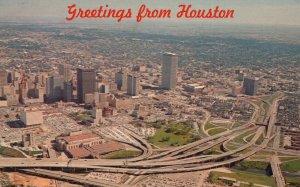 Greetings from Houston, Texas, TX, Skyline, 1970 Chrome Vintage Postcard g9076