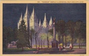 Mormon Temple Illuminated Salt Lake City Utah