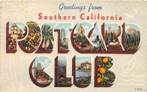 F76/ Los Angeles California SoCal Postcard Club Large Letter Deltiology