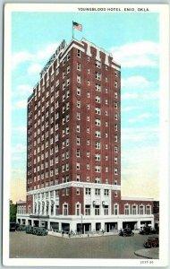 1930s Enid, Oklahoma Postcard YOUNGBLOOD HOTEL Street View - Unused