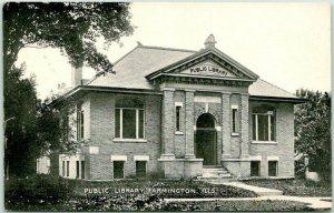FARMINGTON, Illinois Postcard PUBLIC LIBRARY Building View / 1909 IL Cancel