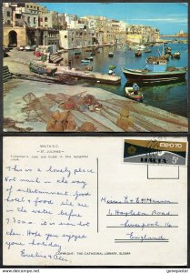 dc490 - MALTA 1970 St Julians. Expo '70 Solo Use on Postcard to England