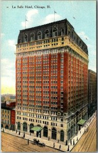 1910s CHICAGO Illinois Postcard LA SALLE HOTEL Bird's-Eye View Unused