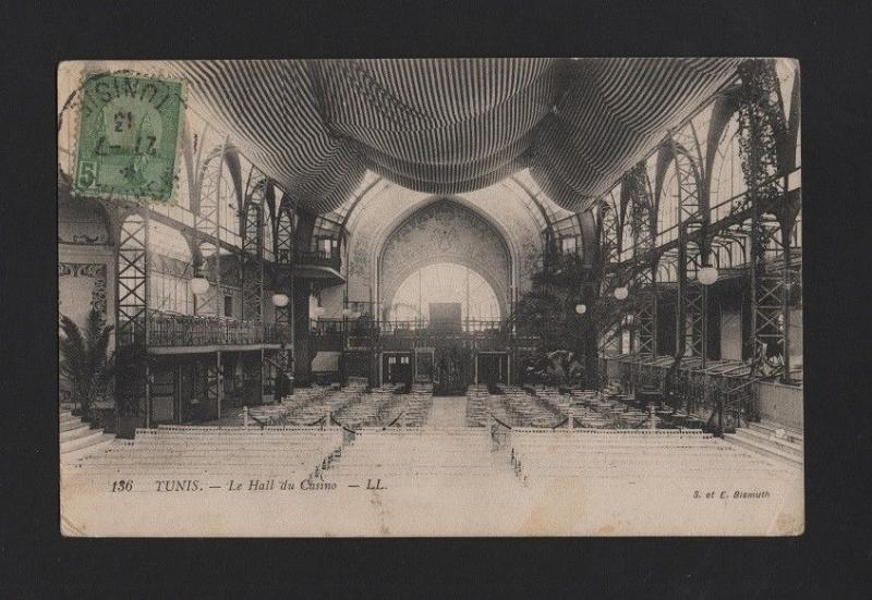 POSTCARD 1913 STAMP TCV TUNIS LE HALL DU CASINO TUNISIA casinos AFRICA