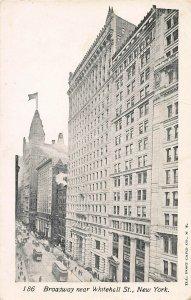 Broadway Near Whitehall St., Manhattan, New York City, Early Postcard, Unused