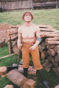 Tree Wood Chopper Lumberjack Mountfitchet Castle Stansted Essex Rare Postcard