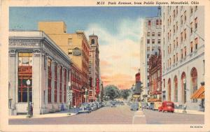 Mansfield Ohio street scene Park Ave business area linen antique pc Y15660