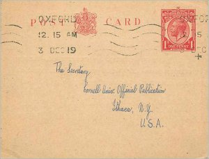 Entier Postal Stationery Postal Britain Great Britain Oxford to Ithaca USA 1919
