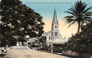 Bermuda Postcard Old Vintage Island Post Card Victoria Street and AME Church ...