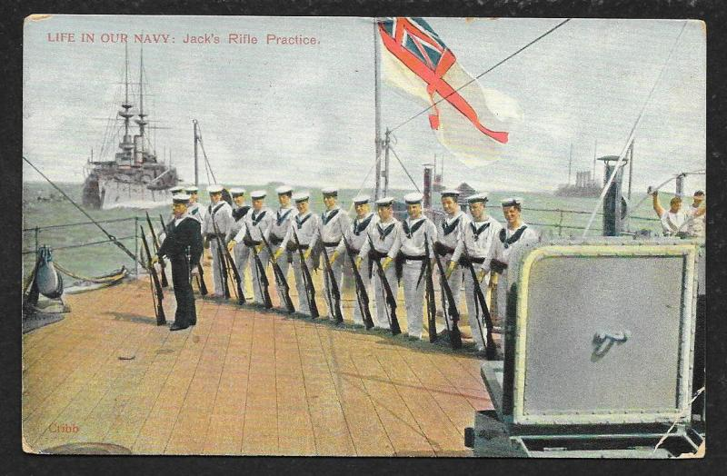 Ship View Life in Our Navy - Jacks Rifle Practice GREAT BRITAIN Used c1906