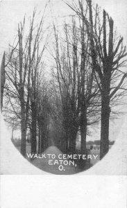 F36/ Eaton Ohio Postcard c1910 Walk To Cemetery Trees 10