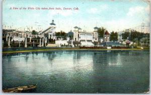 1911 Denver Colorado Amusement Park Postcard View of WHITE CITY from the Lake