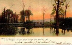 Connecticut Hartford Elizabeth Park The Pond and Rustic Bridge 1906 Rotograph