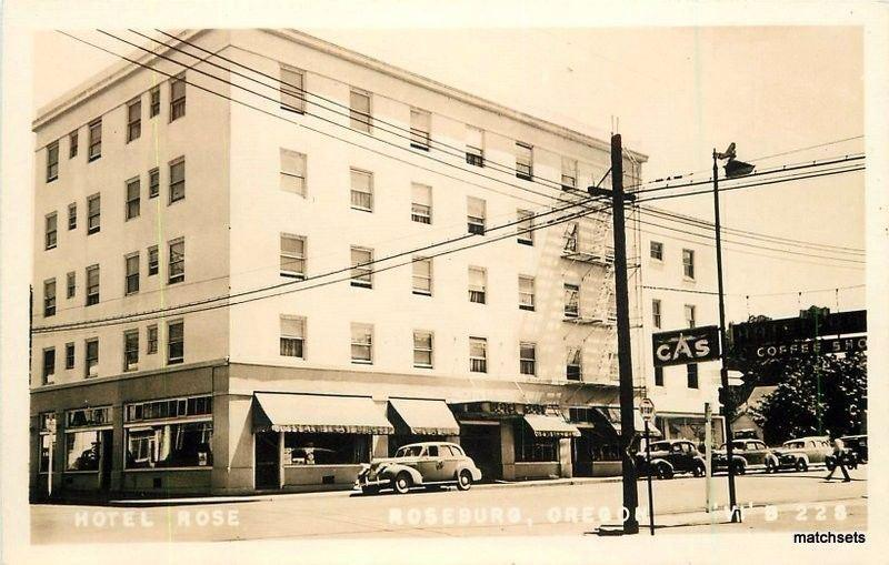 1940s Roseburg Oregon Hotel Rose Autos Rppc Real Photo Postcard 856