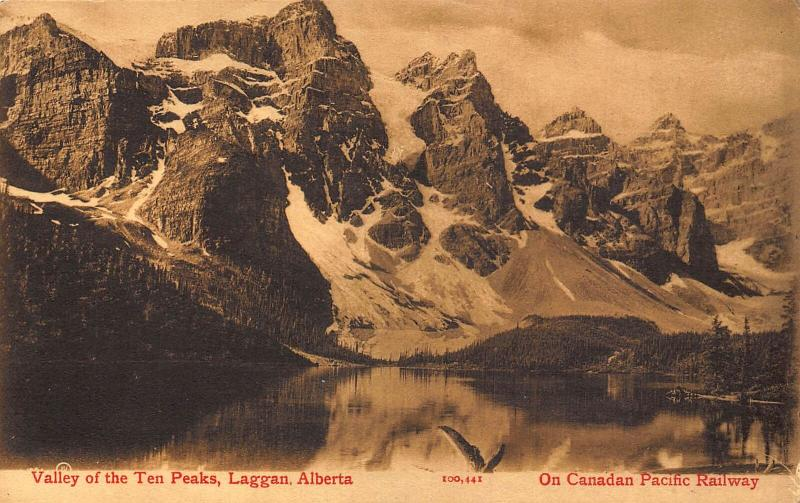 Canada Valley of The Ten Peaks, Laggan Alberta Lake Mountain Postcard