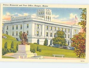 Unused Linen POST OFFICE SCENE Bangor Maine ME d8611