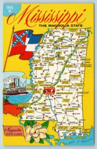 Postcard Mississippi State Map Towns Cities Roads Flag of Confederacy AE8