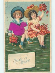 Divided-Back TWO CUTE GIRLS HOLDING FLOWER BOUQUETS o7412