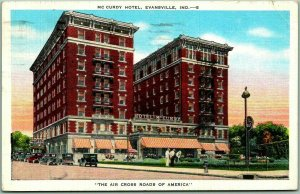 1945 Evansville Indiana Postcard McCURDY HOTEL The Air Cross Roads of America