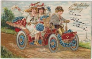 BIRTHDAY Greetings, Children on a joy ride in a convertible, PU-1908