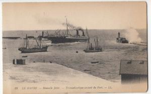France; Le Havre, Transatlantic Liner Leaving The Port PPC Levy, LL 28, Unused