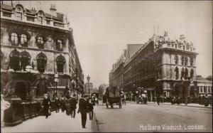 London - Holborn Viaduct Street View c1910 Real Photo Postcard