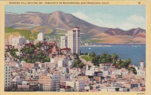 California San Francisco Russian Hill Skyline Mount Taamalpis In Background