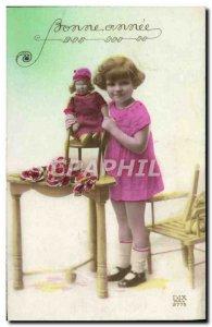 Old Postcard Fun Children Doll Happy New Year