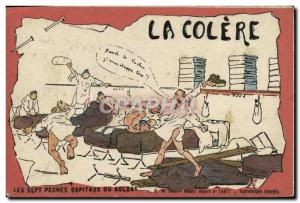 Old Postcard militaria anger Sept Peches Capital soldier