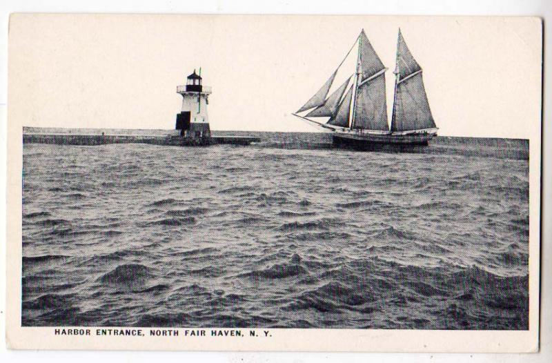 Harbor Entrance, Lighthouse & Schooner, Fair Haven NY
