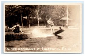 Postcard Summer Tobogganing at Lucerne in Maine ME water winter sled? RPPC H9