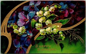 Vintage A HAPPY BIRTHDAY Embossed Greetings Postcard / Colorful Flowers - 1908